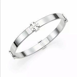 $95 New Tory Burch Logo Silver bangle bracelet